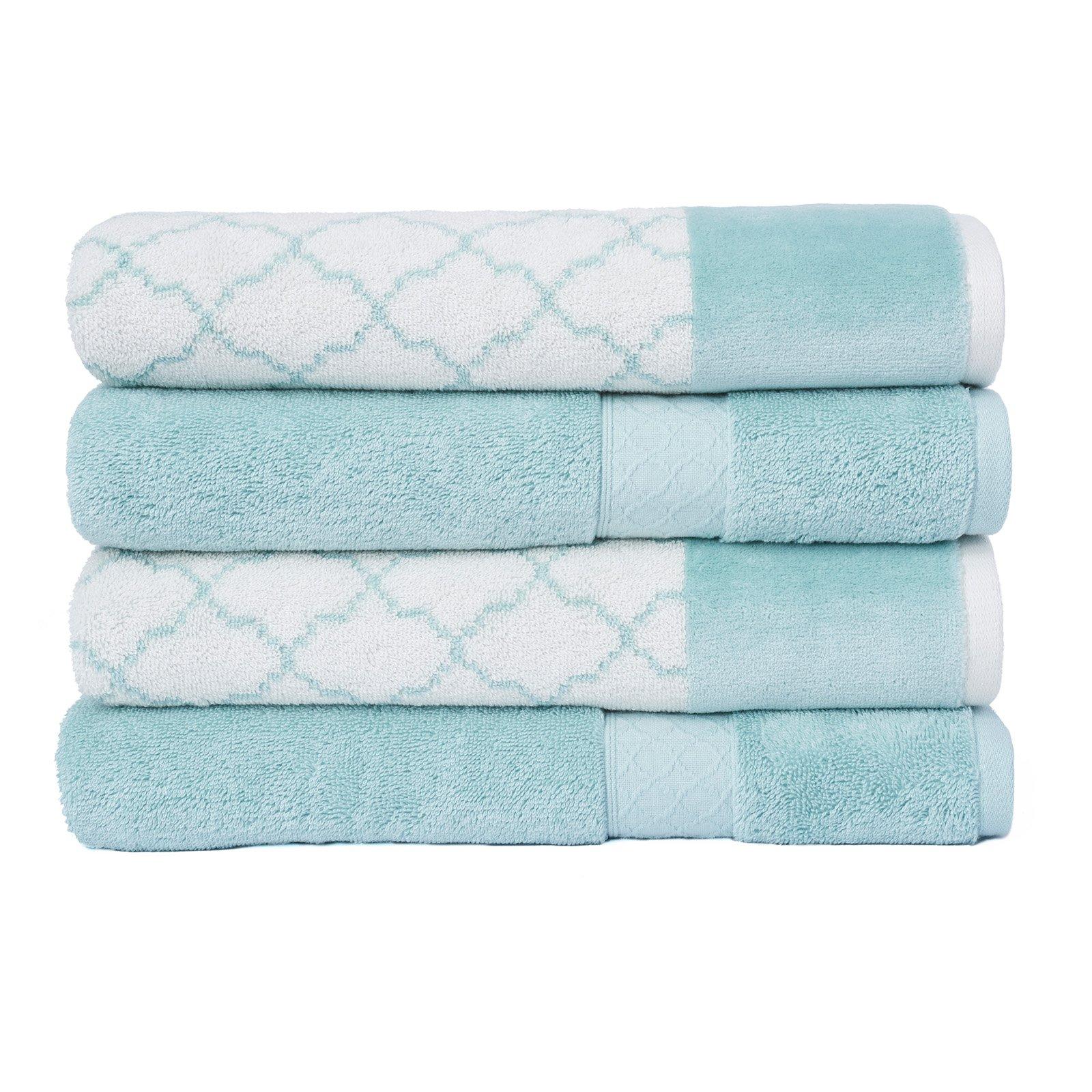 Loft By Loftex Lattice Jacquard Cotton 4 Piece Bath Towel Set Aqua