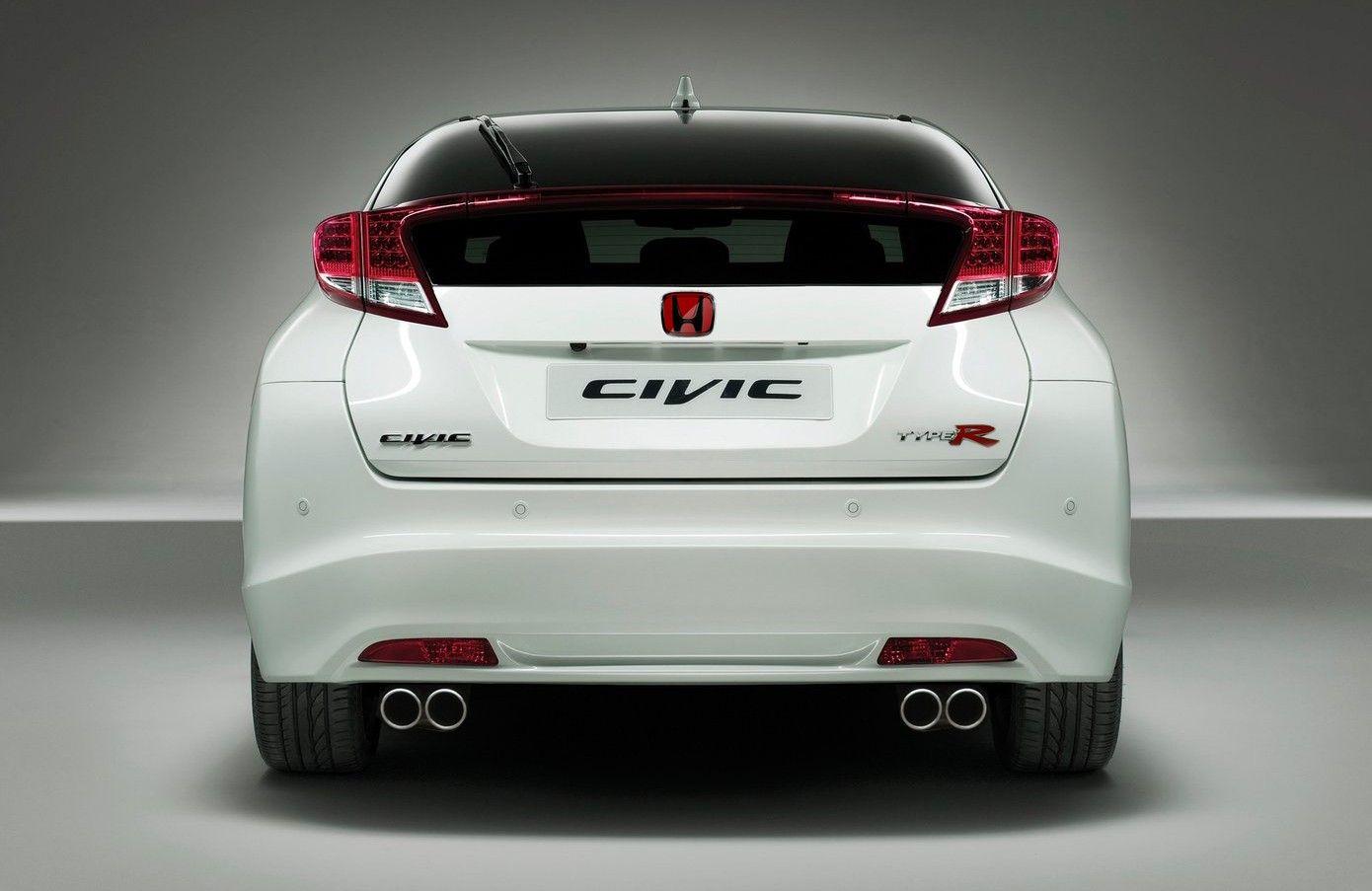 2015 Honda Civic Type R white from back 2015 Honda Civic