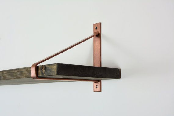 Pair Copper Pipe Shelf Brackets Supports
