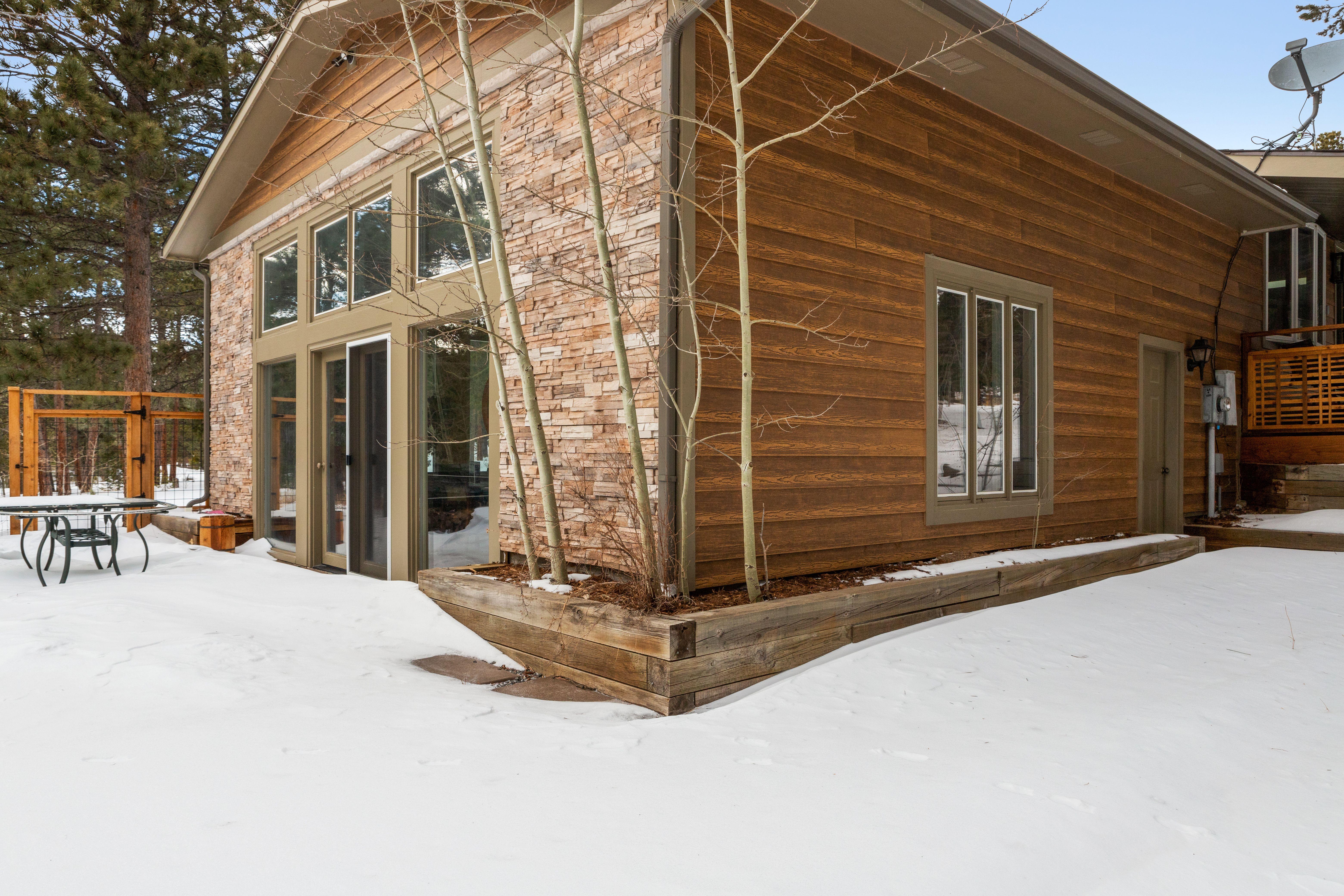 Stunning Winter Wonderland In Colorado Home Exterior Wood Siding Exterior Colorado Homes Barn Siding