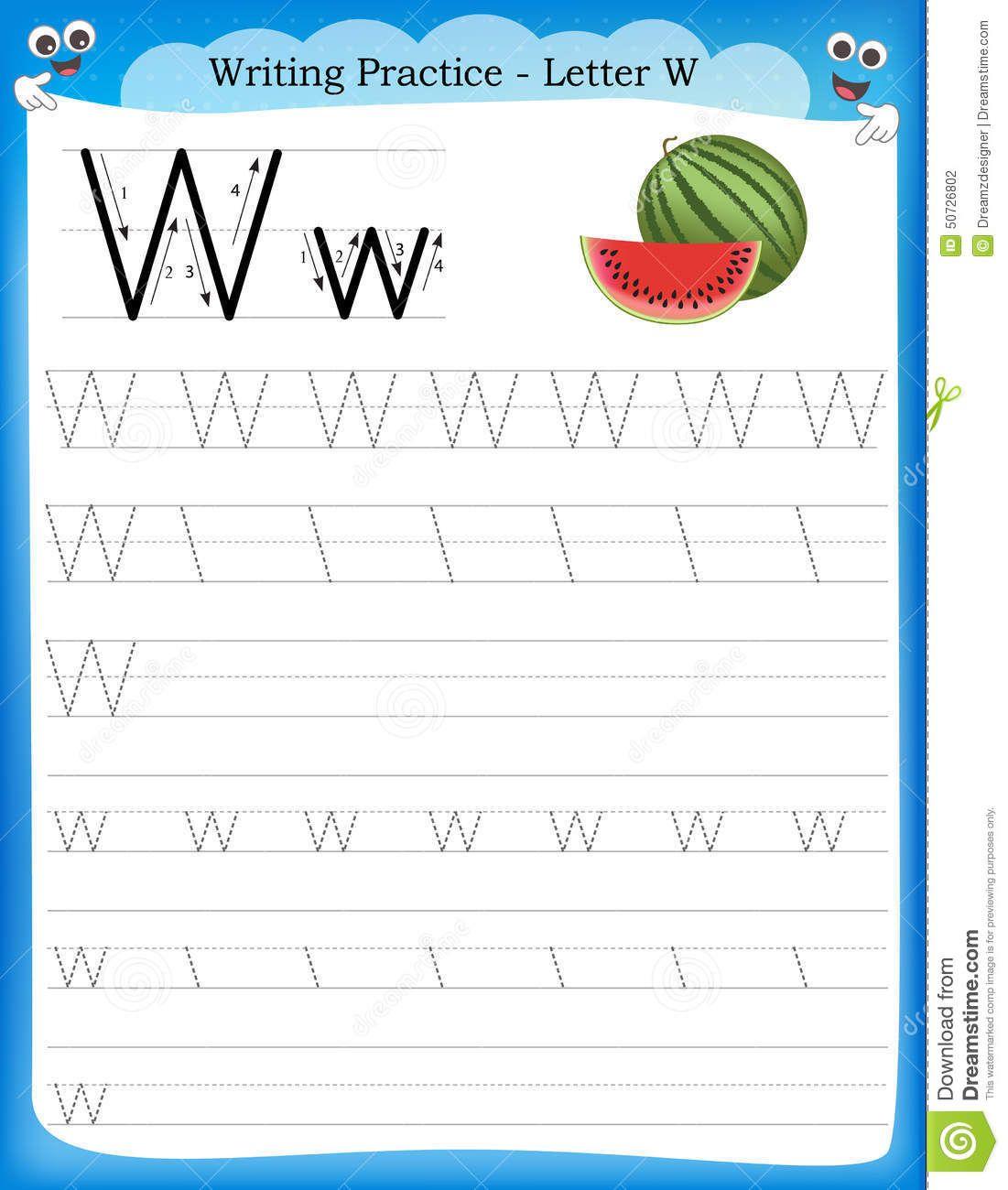 Letra W De La Practica De La Escritura Ilustracion Del