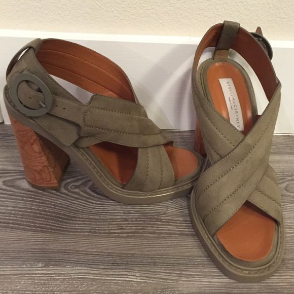 Stella McCartney Stacked Heel Leather Sandals 125 MM crossed leather sandals. Made in Italy. Sold out everywhere! Retail: $1150.00. Stella McCartney Shoes Sandals