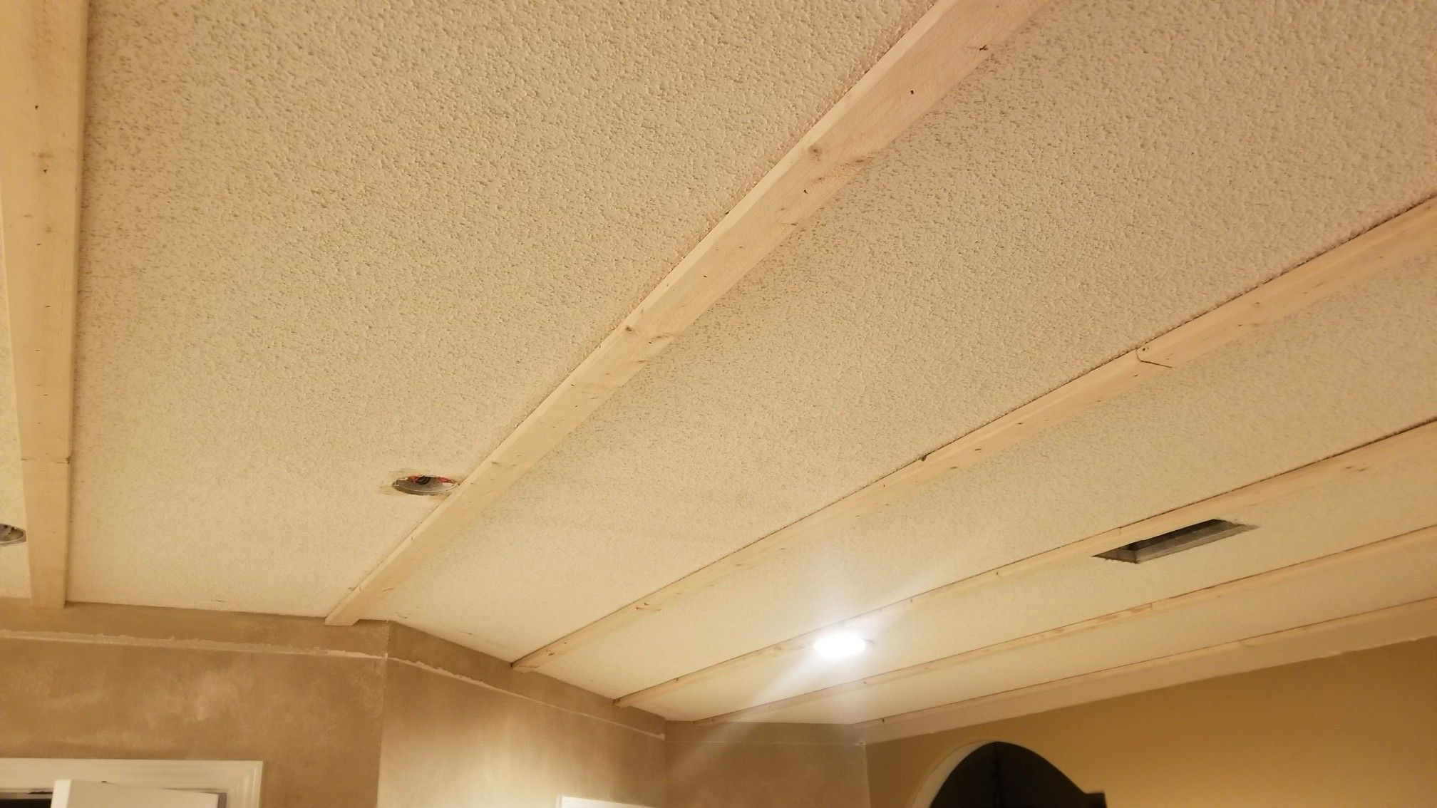 Wood Plank Ceiling Over Popcorn