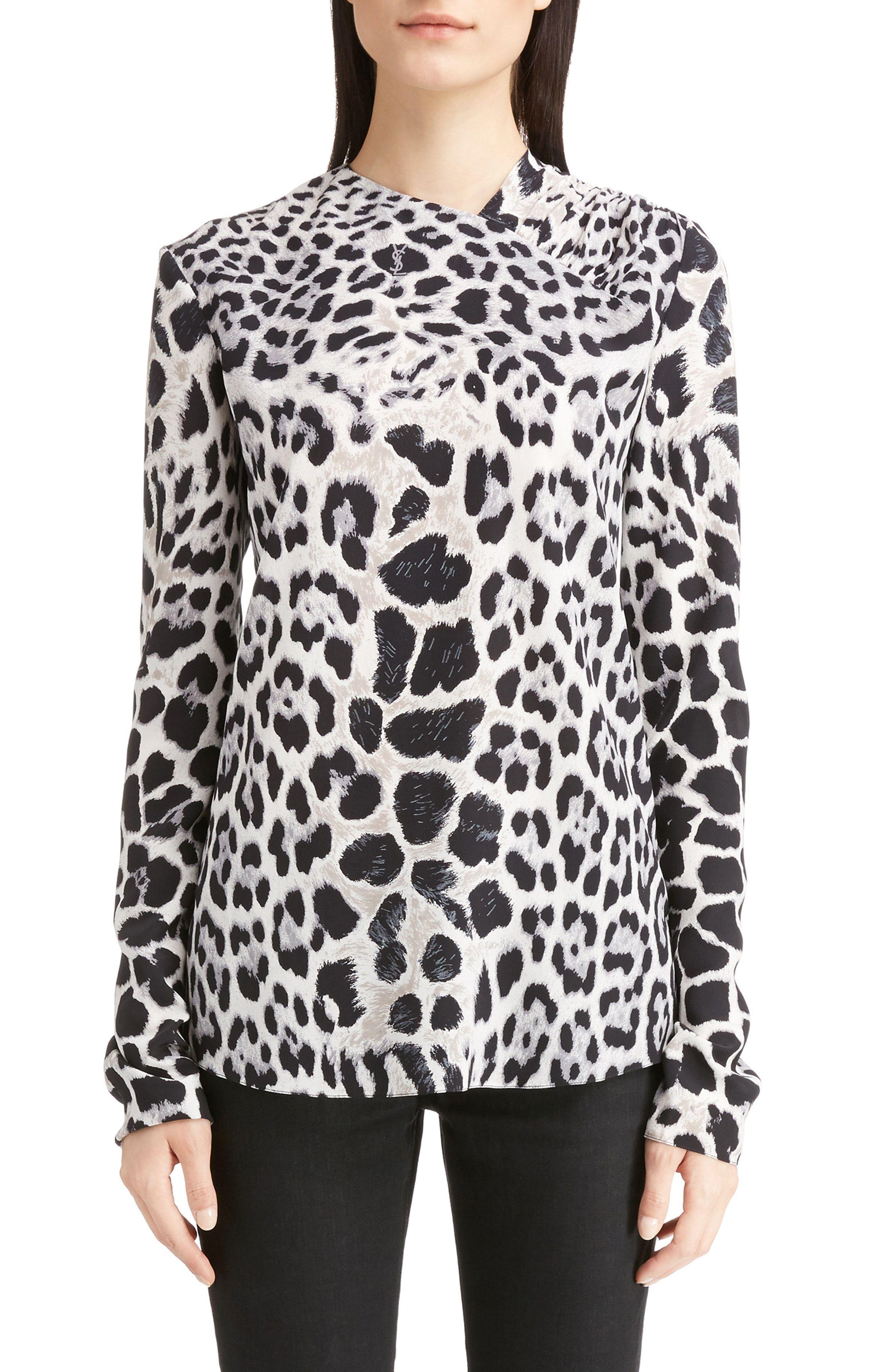 41ce94ca2131b5 New Saint Laurent Logo Leopard Print Silk Crepe de Chine Blouse APRICOT  fashion online.   1990  new offer from topshoppingonline
