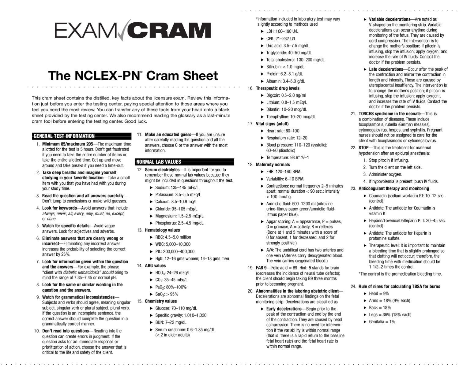 Pearson Cram Sheet