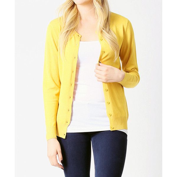 42POPS Yellow Button-Up Cardigan ($17) ❤ liked on Polyvore ...