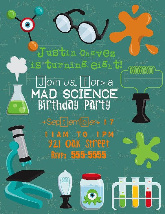 Mad Scientist Birthday Invitation Print At Your Local Photo Lab