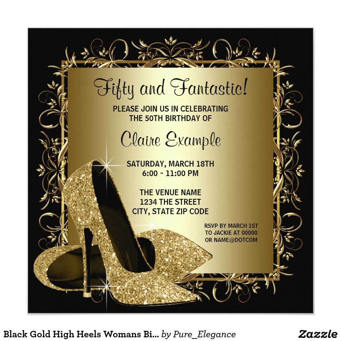 Black Gold High Heels Womans Birthday Party Invitation   Womans ...