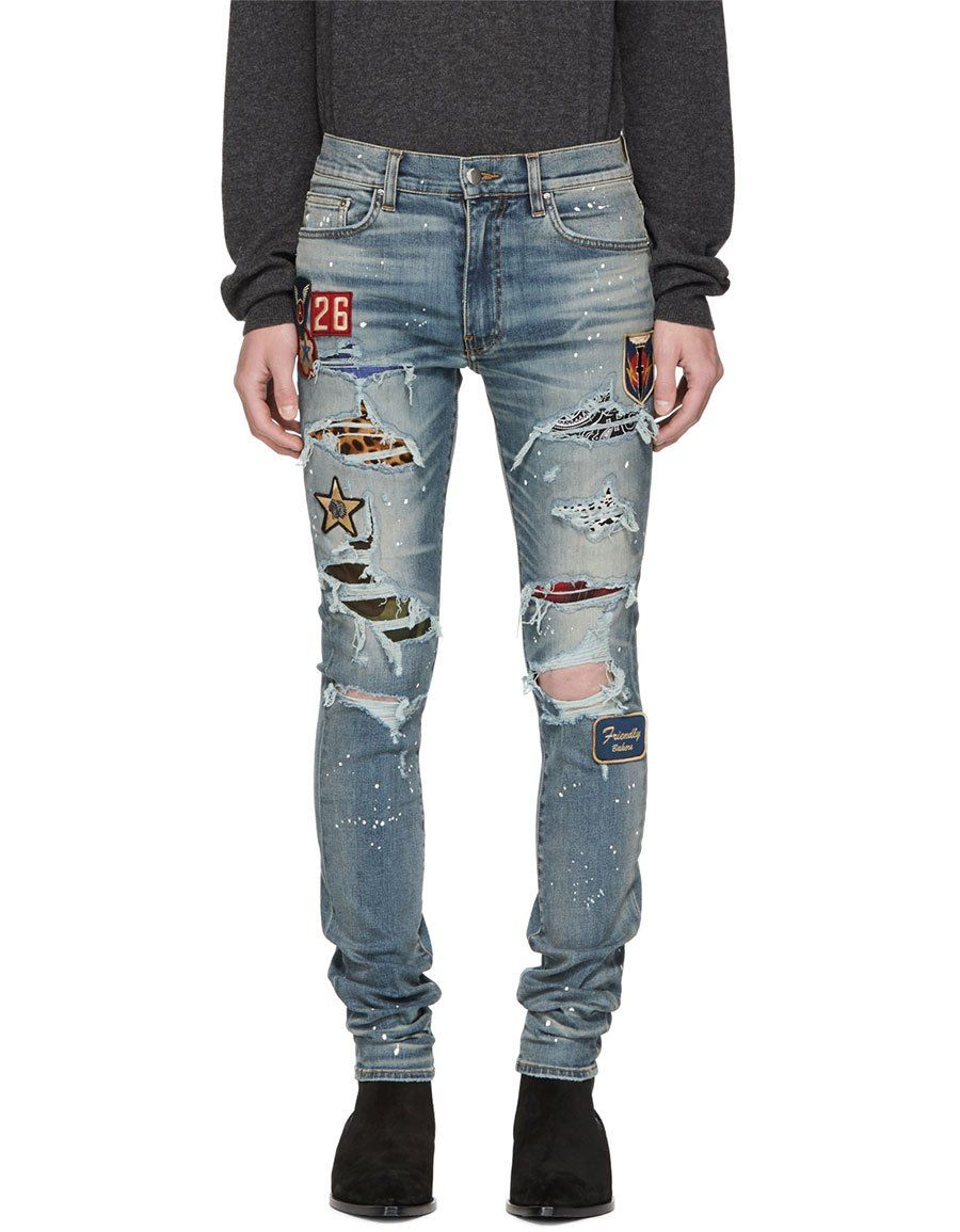h3>AMIRI<h3> Indigo Art Patch Painted Jeans   Painted jeans