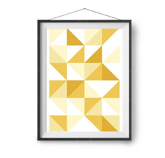 Geometric Print, Yellow Wall Art, Printable Art, Art Print ...