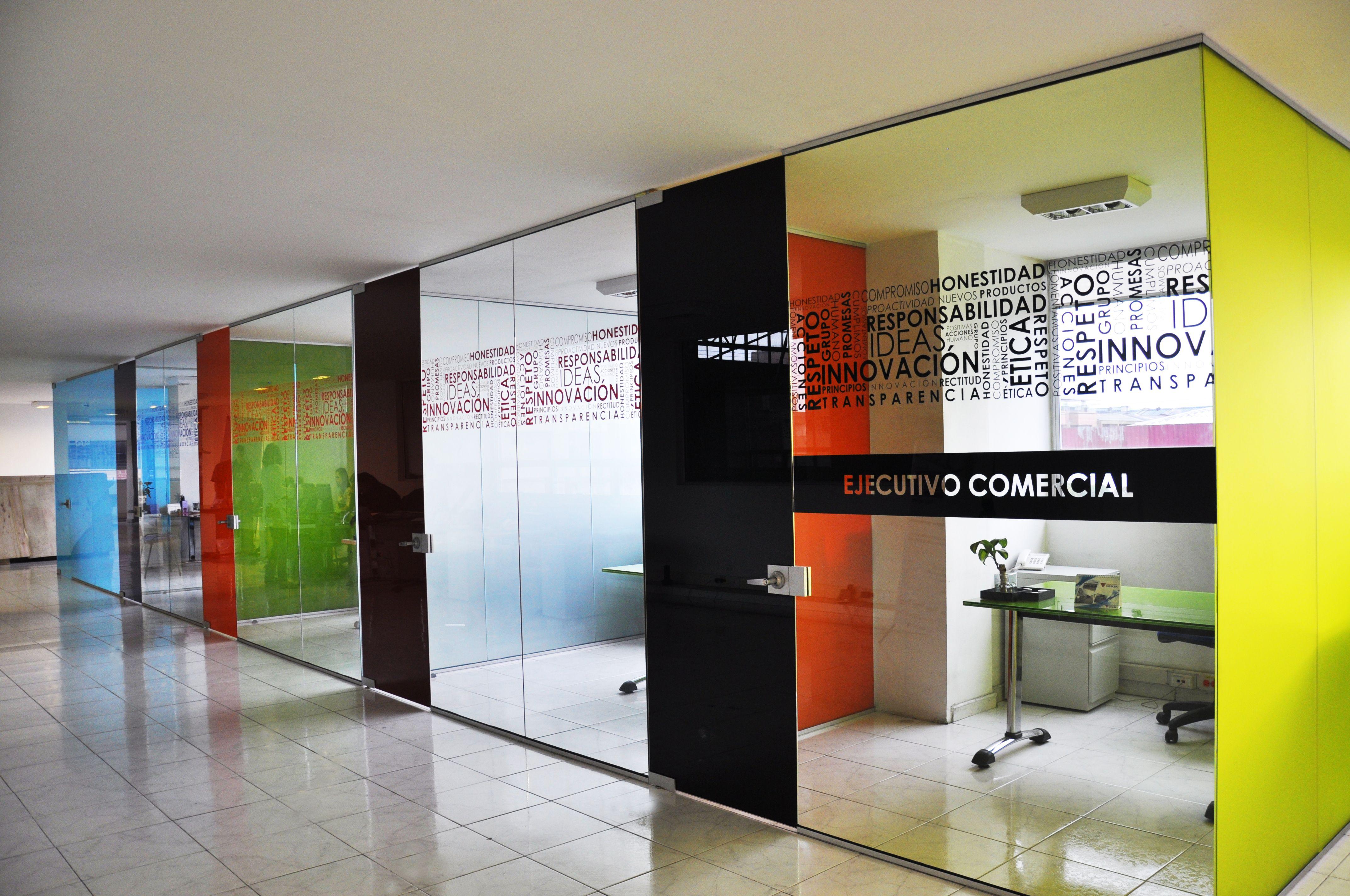 Divisiones de oficina piso techo o media altura con vidrios ...