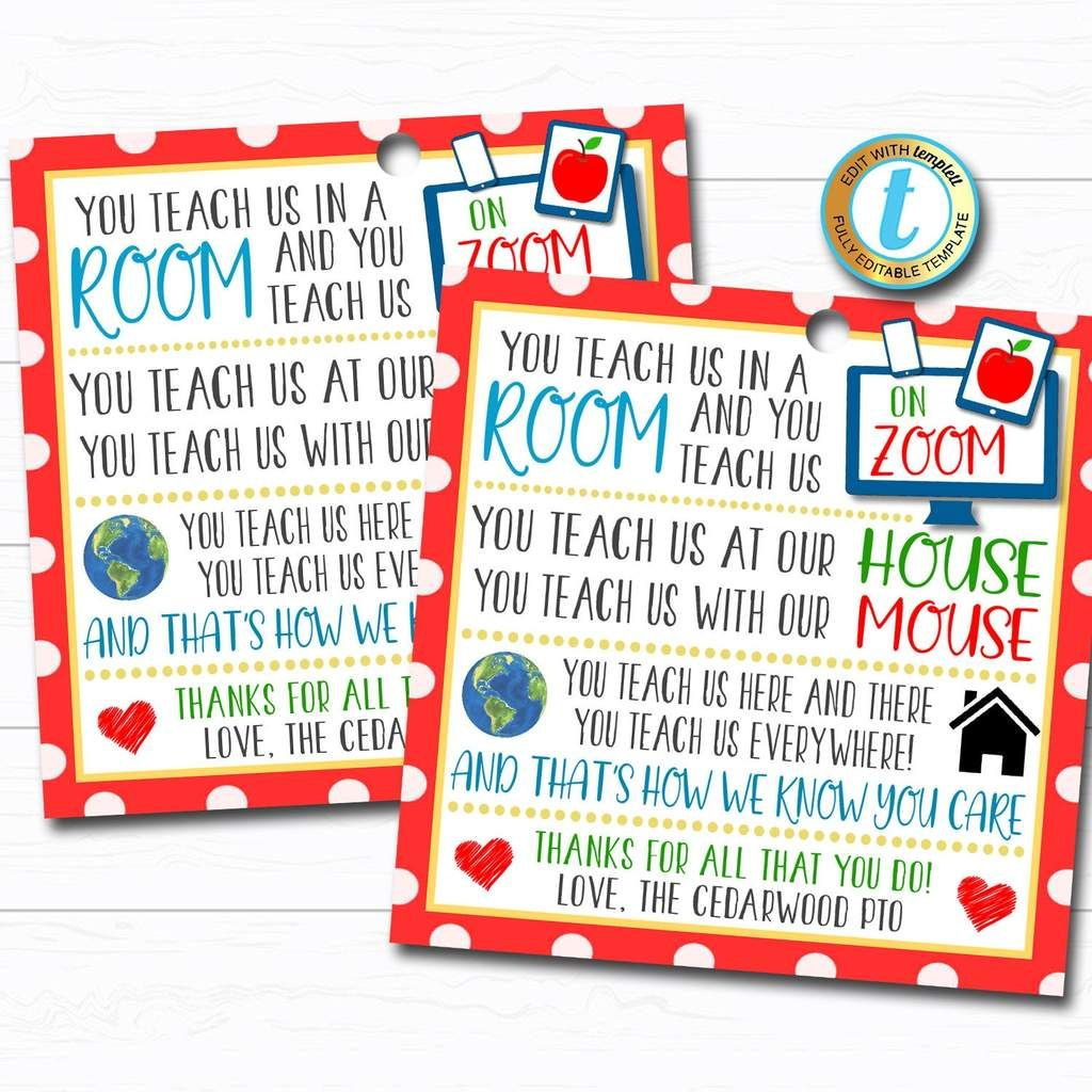 Virtual Teacher Appreciation Gift Tag Zoom Teacher Poem In 2020 Teachers Appreciation Week Gifts Teacher Poems School Teacher Gifts