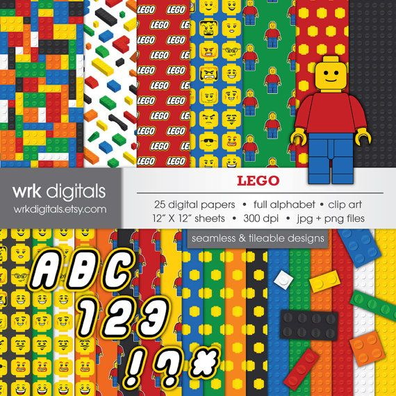 Lego Seamless Digital Paper And Clip Art Pack Digital Scrapbooking