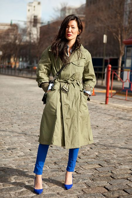 love the army/olive green with the bright blue pants/shoes