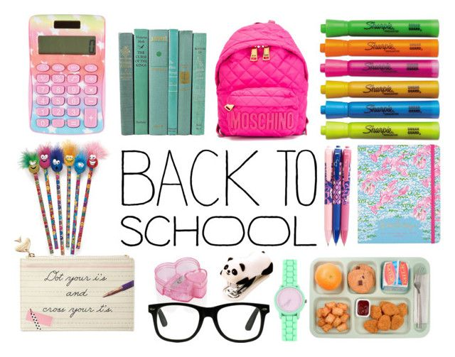 Back to School Supplies by shoenique liked on Polyvore featuring