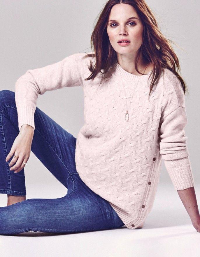 45e291d4b0fc2 Blush Pink Cable Knit Nursing Jumper | My style | Maternity dress ...