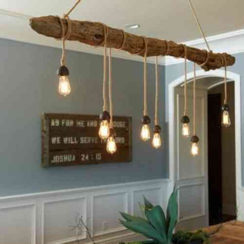 Le bois flott en d co 52 id es originales suspension for Lampe de bar cuisine