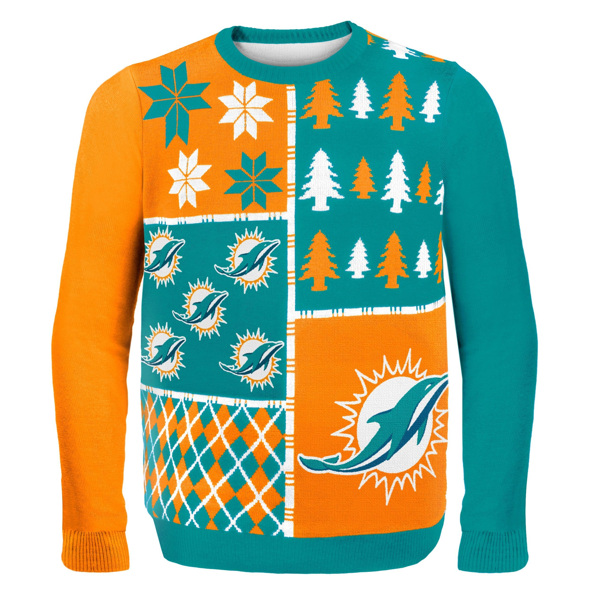 fe87805fdbf Forever Collectibles Miami Dolphins Busy Block Ugly Sweater ...