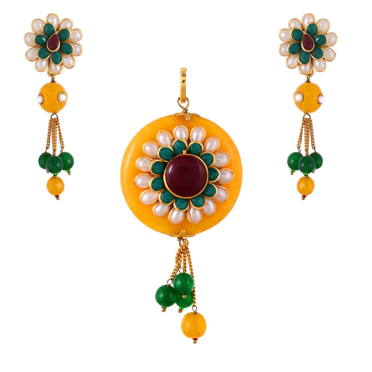 Yellow pearl emerald pacchi work fashionable pendant set pendants