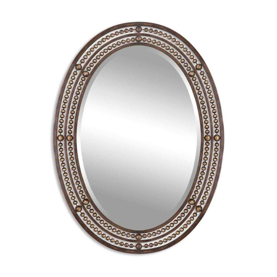 Global Direct 34 In L X 24 W Distressed Oil Rubbed Bronze Framed Oval Wall Mirror