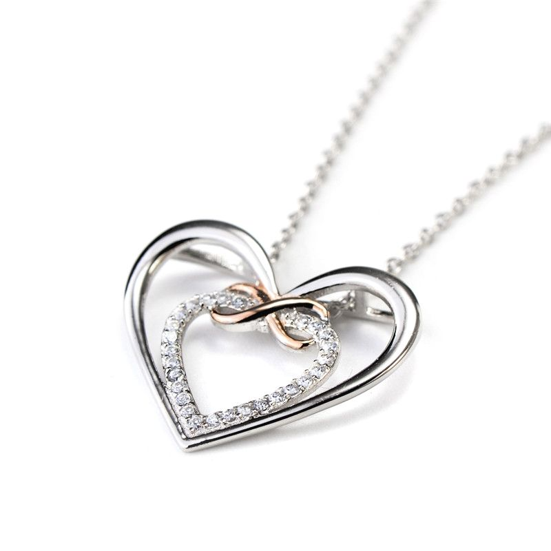 Sterling Silver Double Heart Women Necklace Pendant Cubic Zirconia White Gold Plated Chain