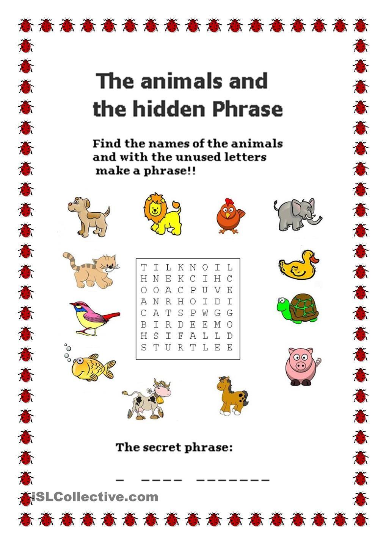 Animals - Hidden Phrase | LANGUAGE | Pinterest