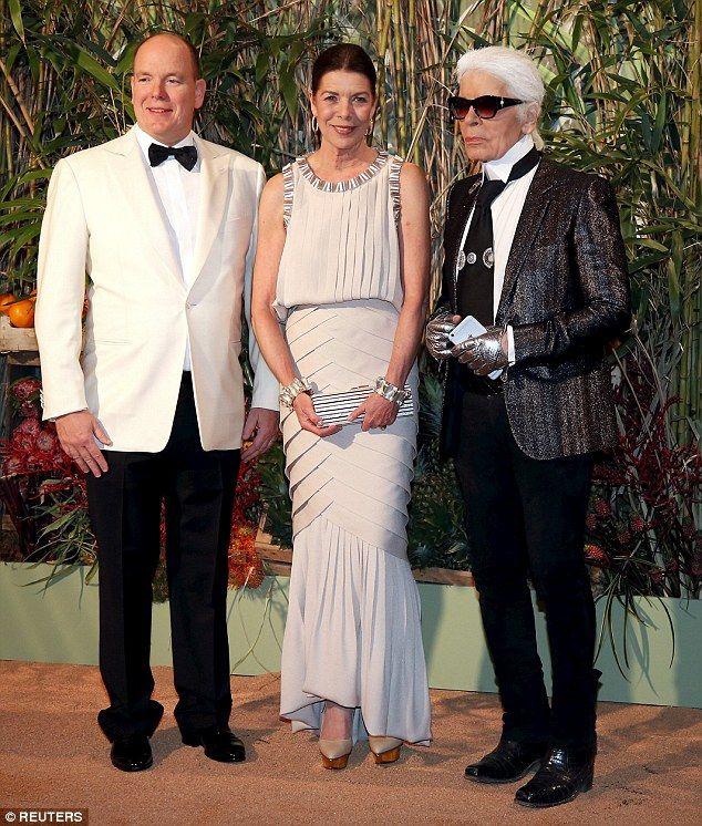 Princess Caroline of Hanover, 59, wore an intricate fishtail dress as she accompanied her ...