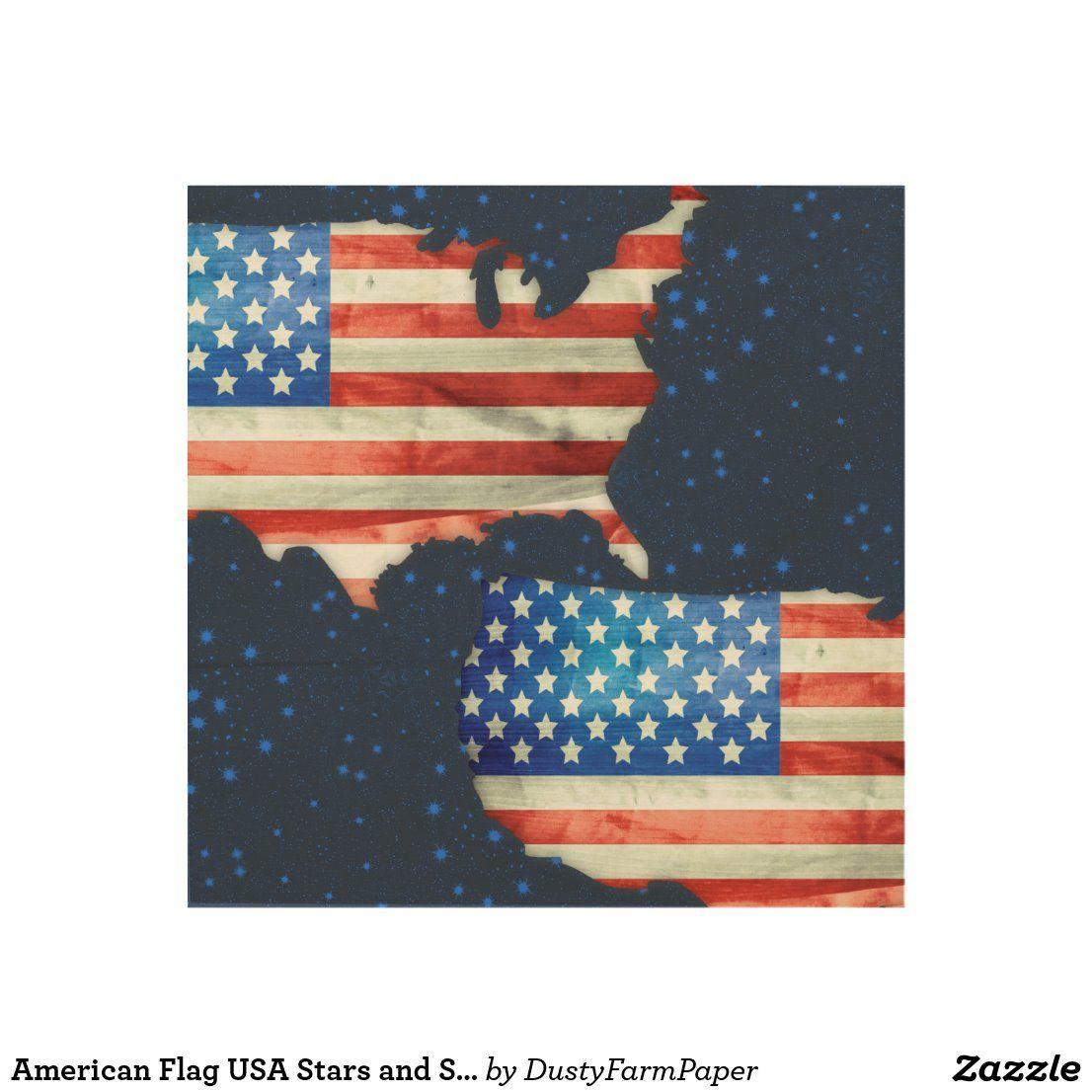 Stars Stripes Print On Natural Pine Wood: American Flag USA Stars And Stripes Wood Wall Art