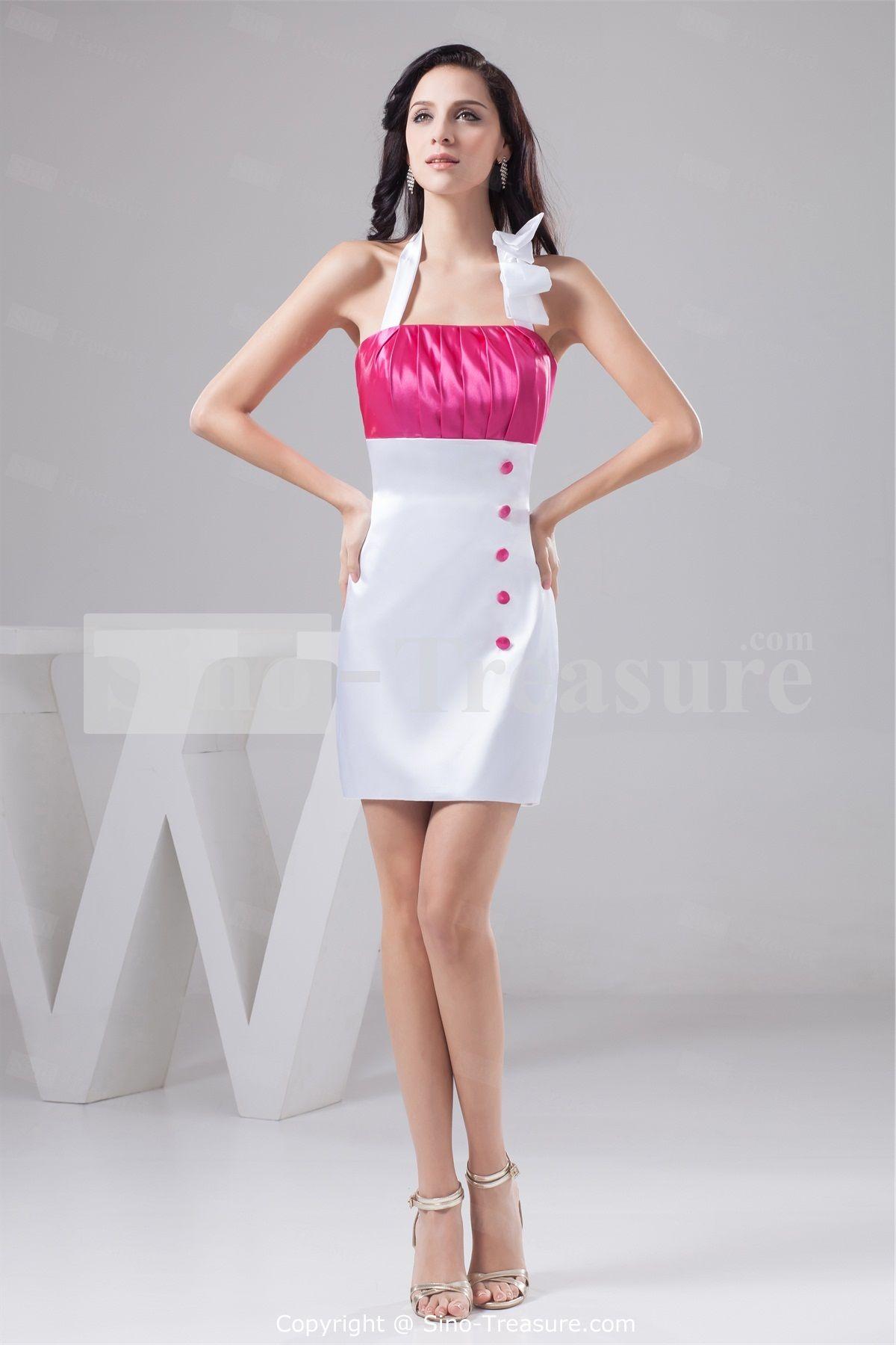 White fuchsia short mini silklike satin halter bridesmaid dresses