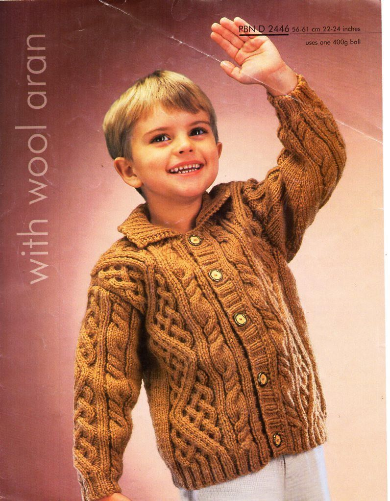 Childs aran jacket knitting pattern pdf childrens collared cable ...