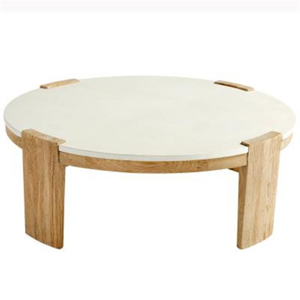 Jeffrey Modern Classic White Concrete Top Wood Round