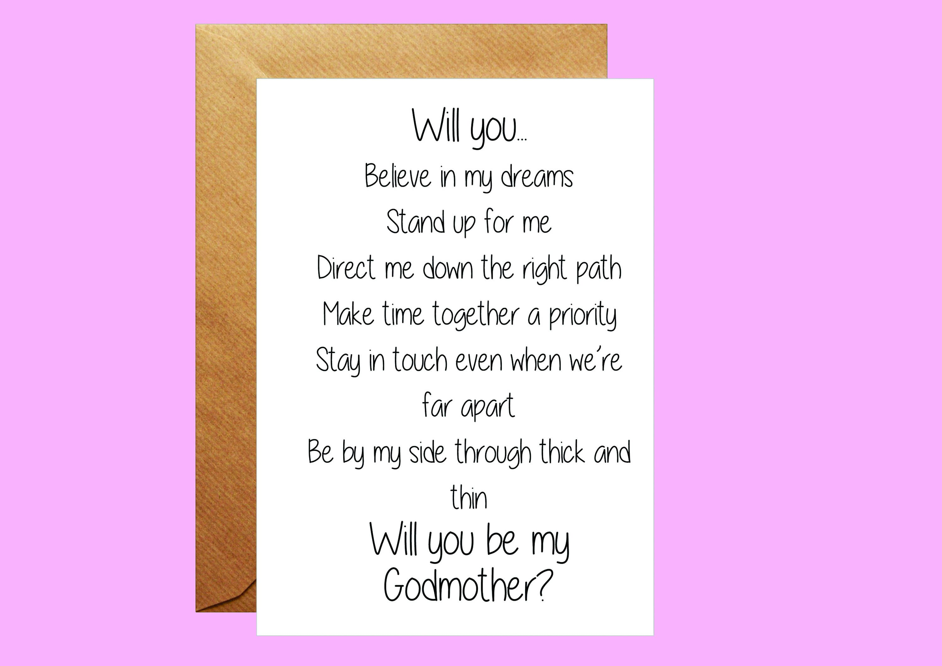 Will you be my God Mother God Parents Card Proposal Card Godmother Request Card