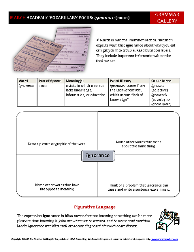worksheet to help middle school and high school students develop academic vocabulary march 39 s. Black Bedroom Furniture Sets. Home Design Ideas