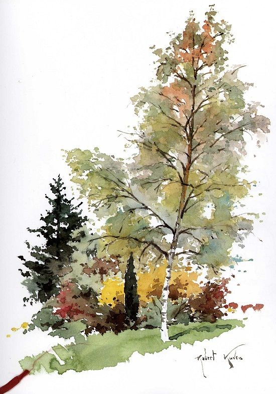 Robert Kuven Arbres En Aquarelle Arbres Peints Comment Peindre