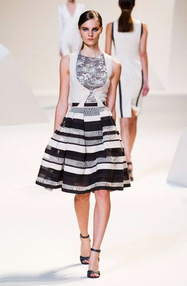 Chic Mono Stripes Cocktail Dress  Black & White Striped Dress #Trend for Spring Summer 2013. #fashion  Elie Saab Spring Summer 2013.  Oct 7th, 2012 11:46 pm GMT.
