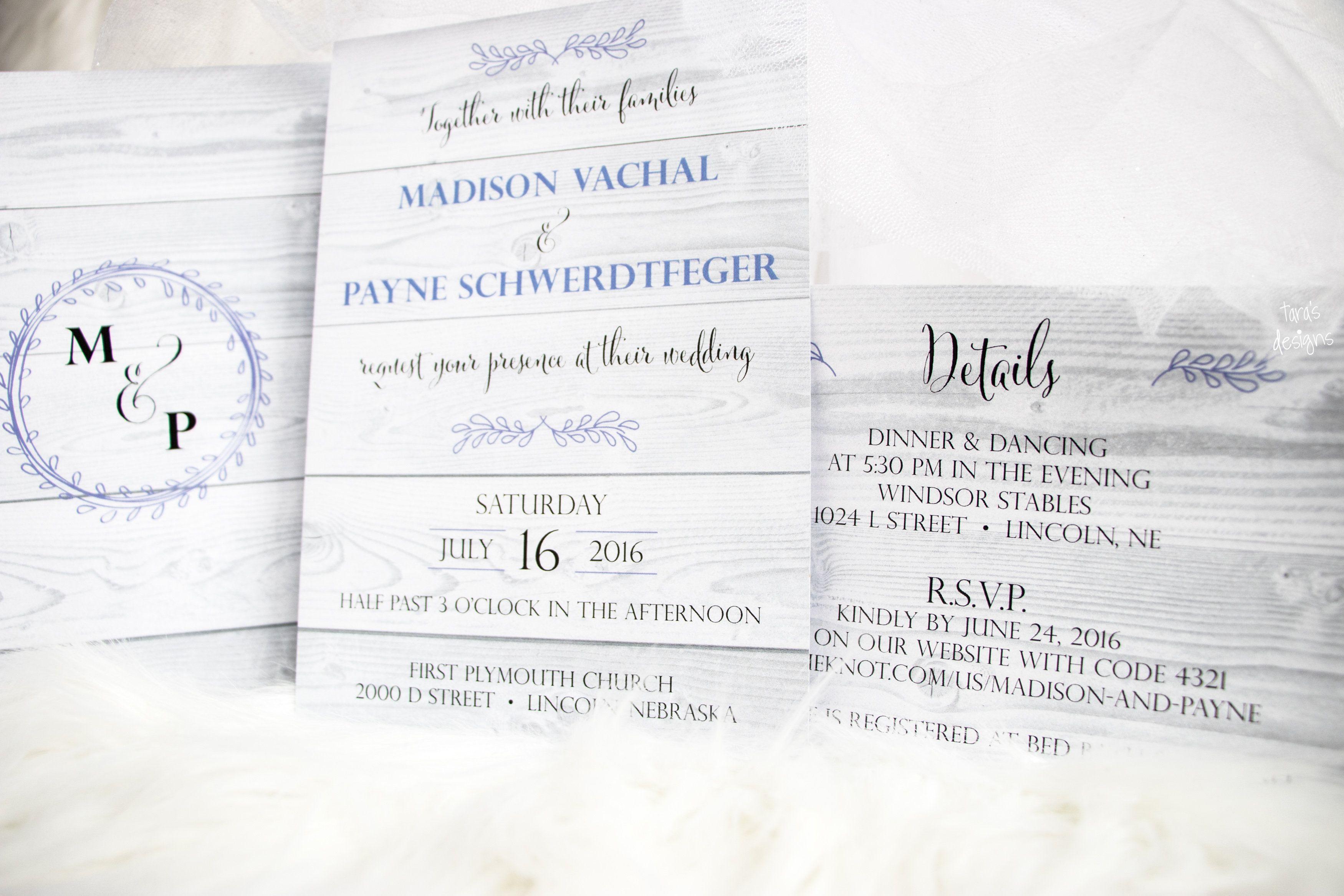 rustic light wood purple 2 sided wedding invitation and monogram