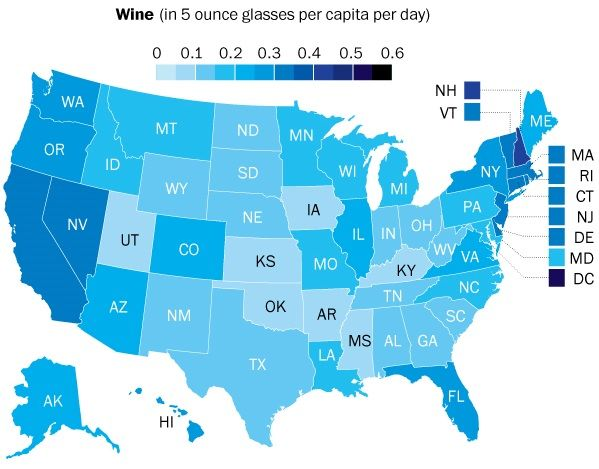 Seems Binge Drinking Is Concentrated In States Known For Cold Winters While Wine Consumption Is