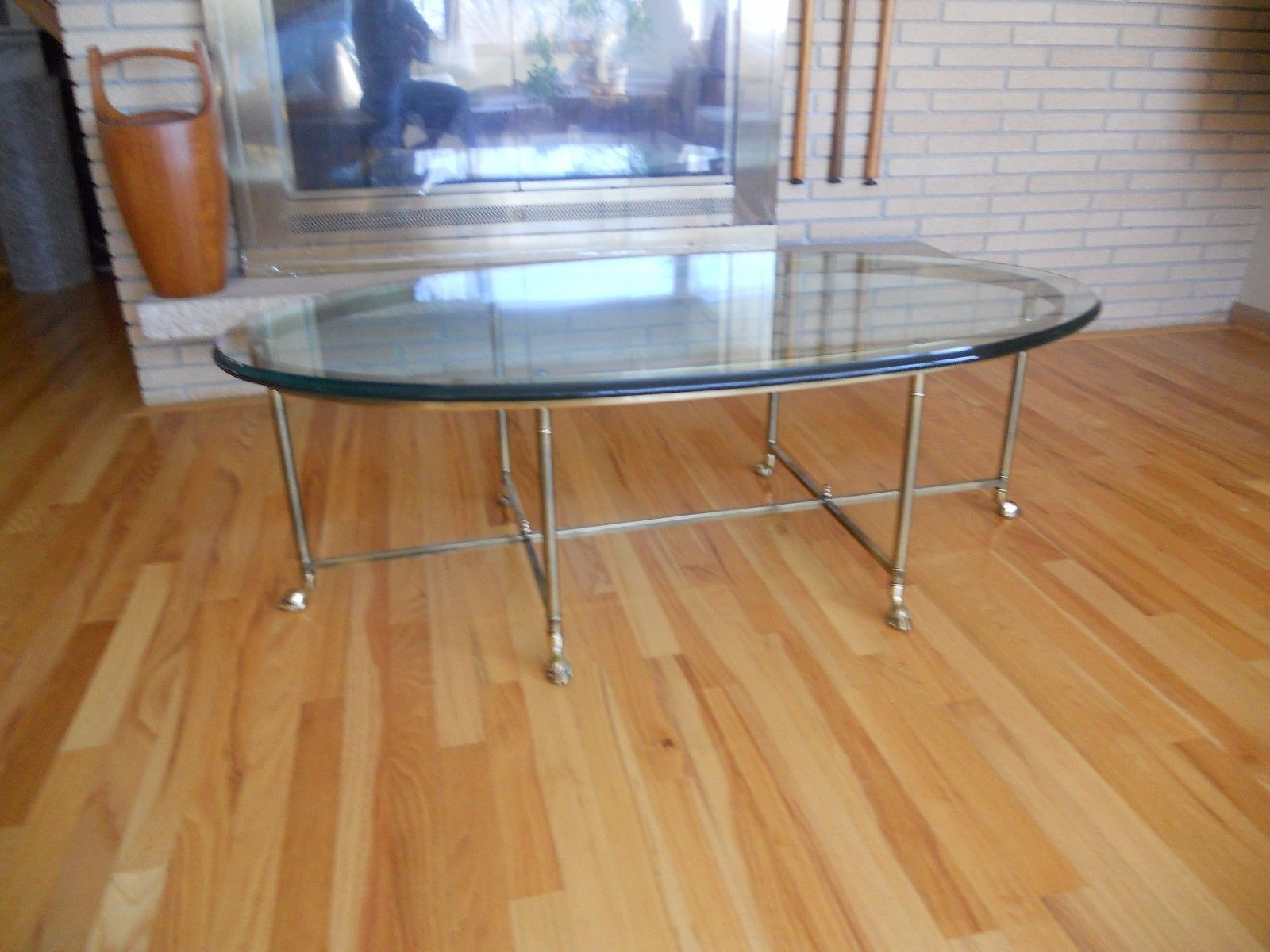 Mid century La Barge Hoof footed coffee table brass glass Hollywood