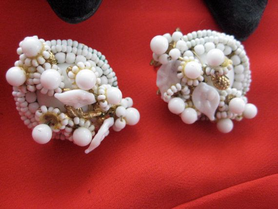 Vintage 1950s shoe clips--ON SALE-milk white, for shoes, clothes, purse--everything