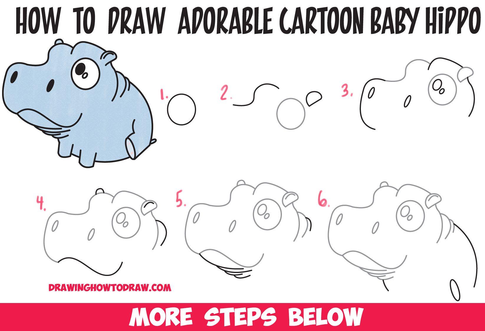 How To Draw A Cute Baby Hippo Cartoon Kawaii Chibi Easy Step