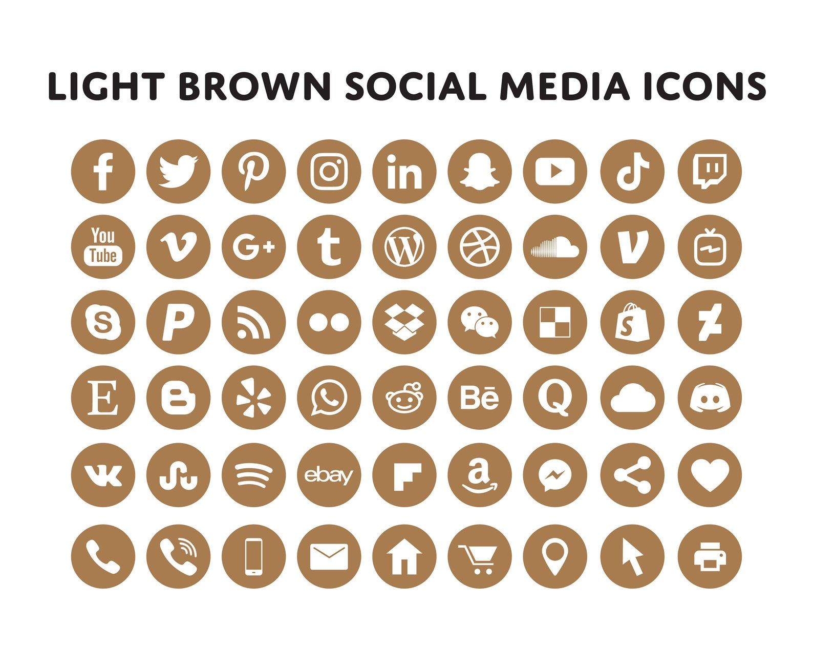 Light Brown Social Media Icons Bundle Over 200 Social Media Icons Blog Icons Email Signature Clipart Website Icons Social Media Social Media Icons Media Icon Icon