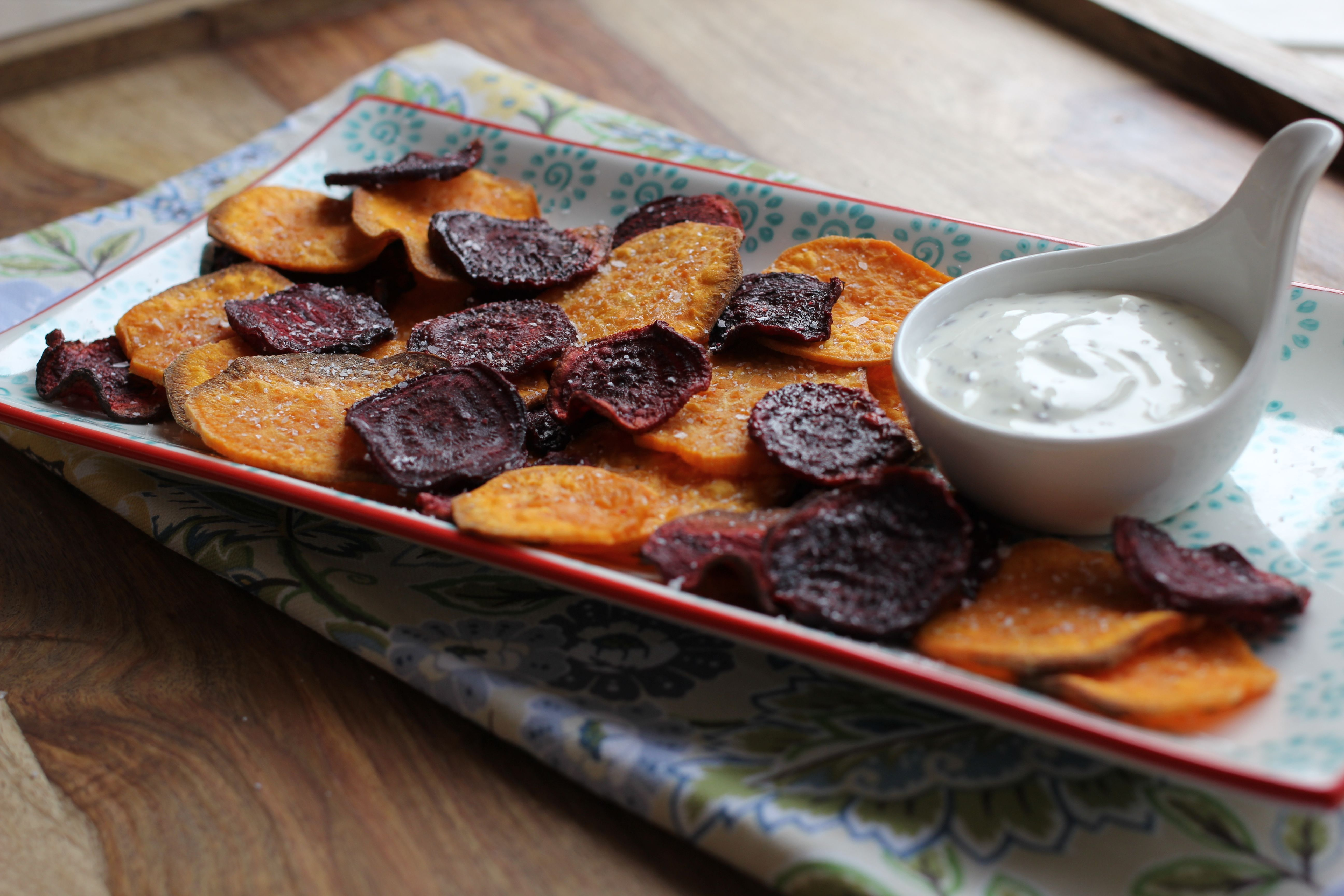 Beet Amp Sweet Potato Chips W Dill And Creme Fraiche Dip