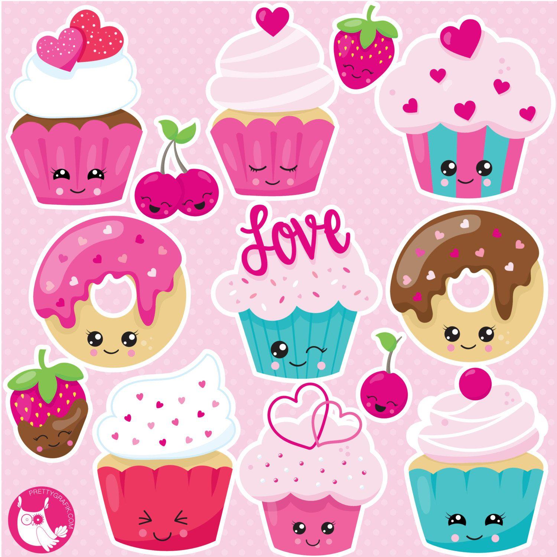 Kawaii valentine treats clipart commercial use, vector graphics ...