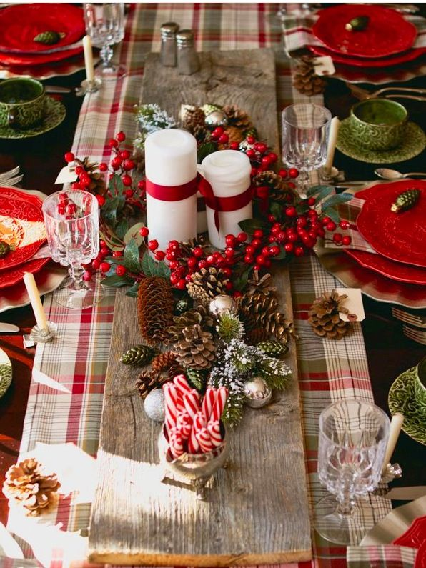 decoration bundle of lollipops and pine cone feat bid candles for classy christmas table decoration with plaid table cloth marvelous christmas table