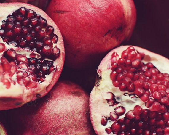 Pomegranate Art Food Photography Print Red Kitchen Wall Dining Room Decor