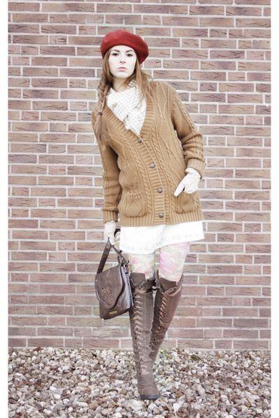 Forever21-dress-woolmark-hat-vintage-bag-no-name-heels-newlook-cardigan