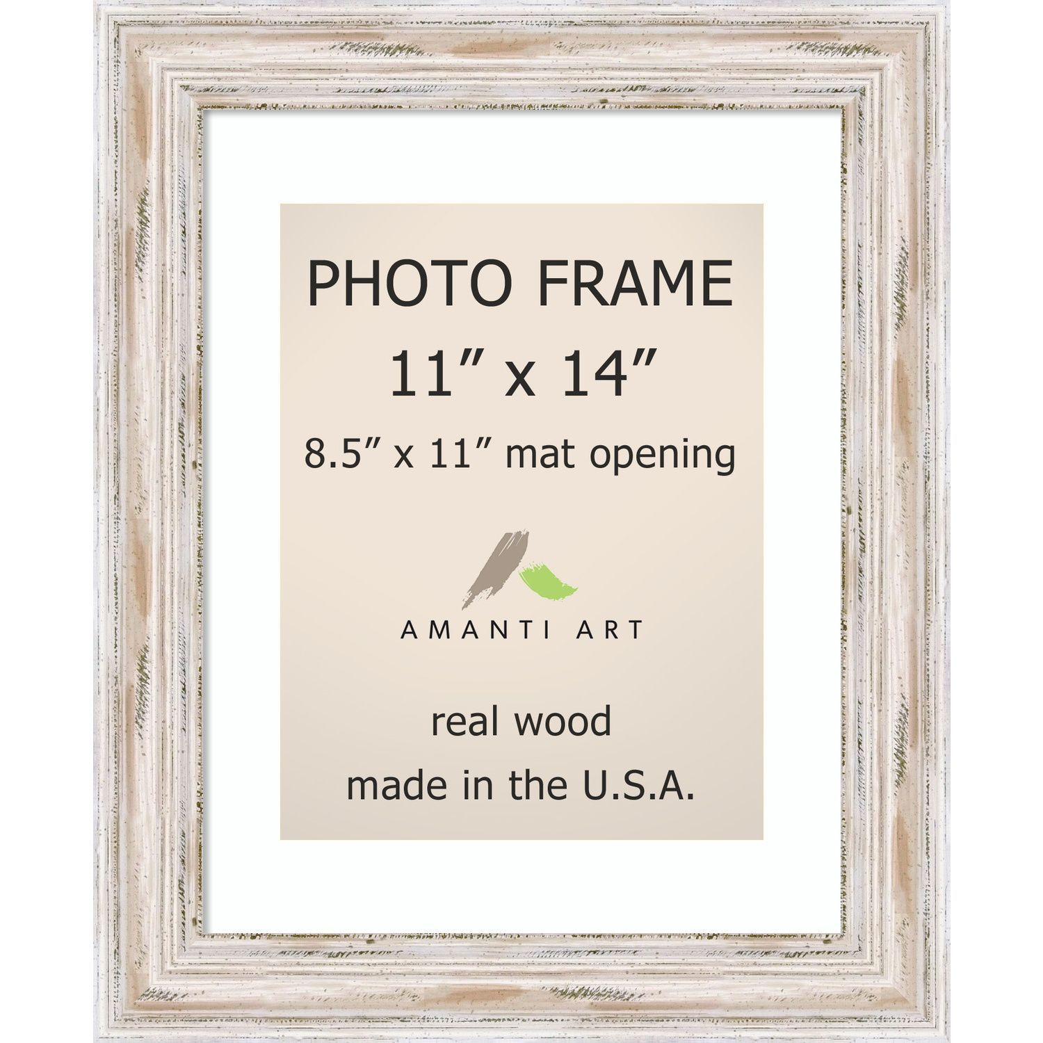 Alexandria Whitewash Photo Frame 11x14, Matted to 8.5x11\' 14 x 17 ...