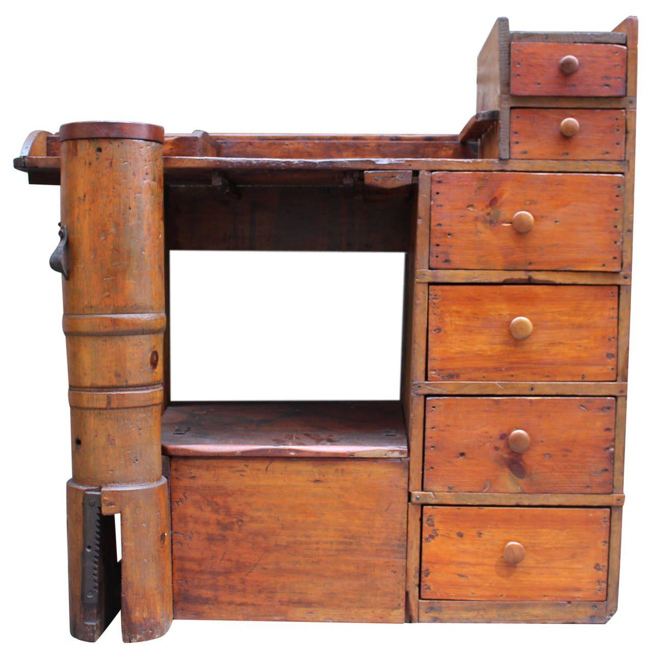 Uncategorized Antique Work Desk 1880s antique pine shoe cobbler work desk with drawers and cubbyholes