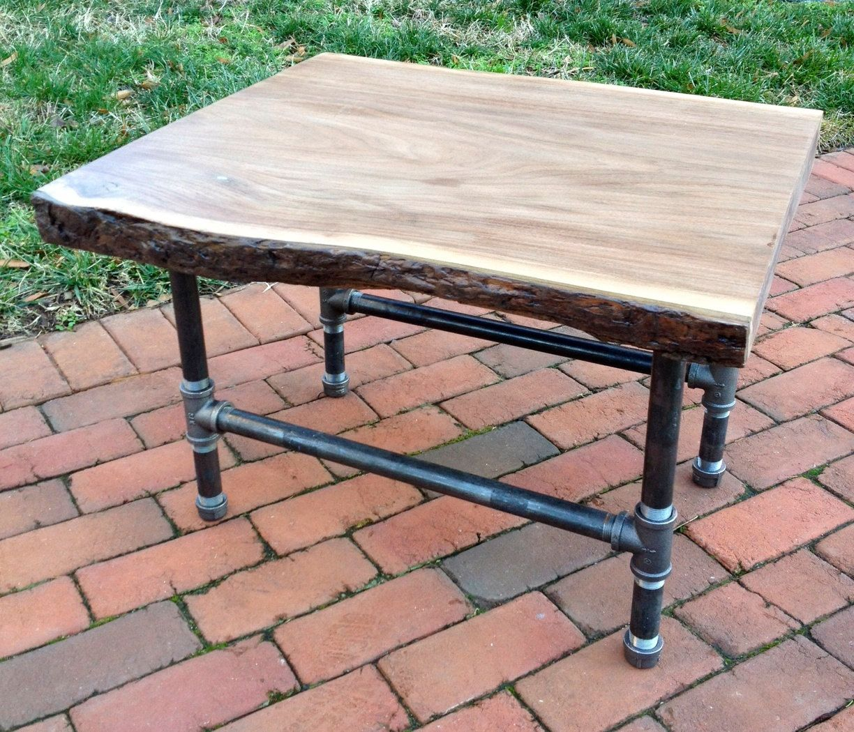 Black Walnut Live Edge U0026 Pipe End Table. $215.00, Via Etsy.