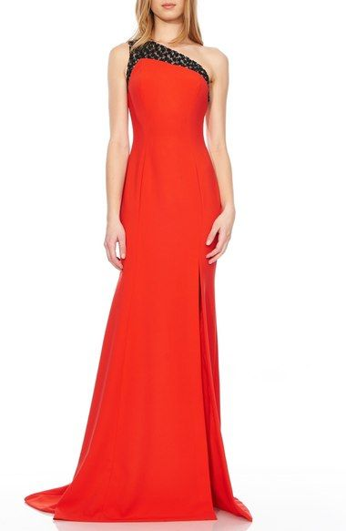 Theia Appliqué One Shoulder Stretch Gown available at #Nordstrom
